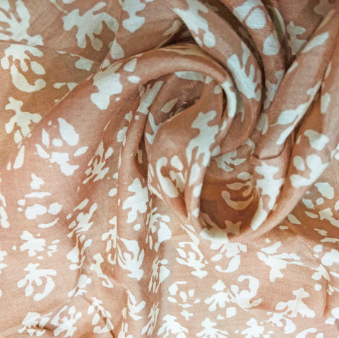 Peachy Printed Cotton Silk Fabric
