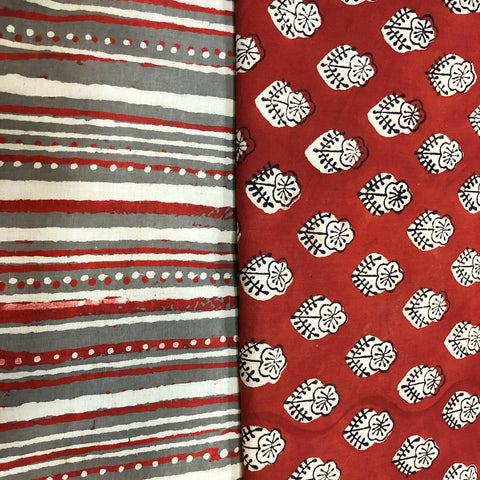 Summery Red & Grey Cotton Fabric Suit Length