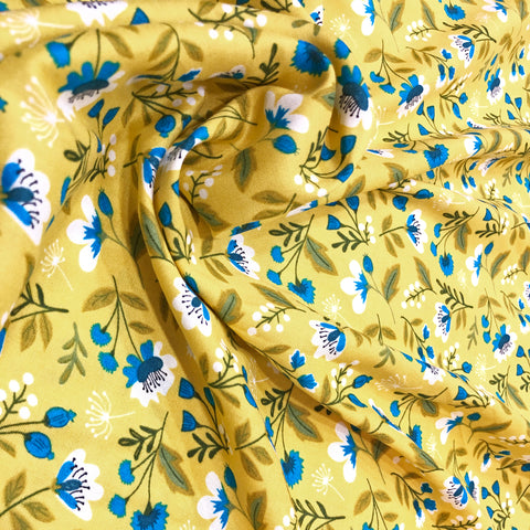 yellow rayon summer fabric.