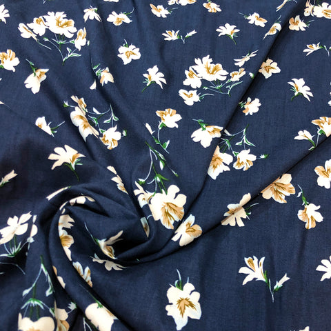 Navy Blue Floral Cotton Fabric