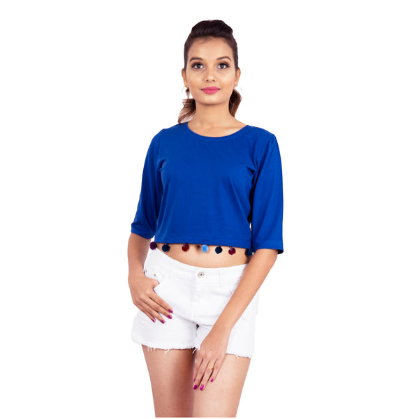 Embellished Ink Blue Crop Top