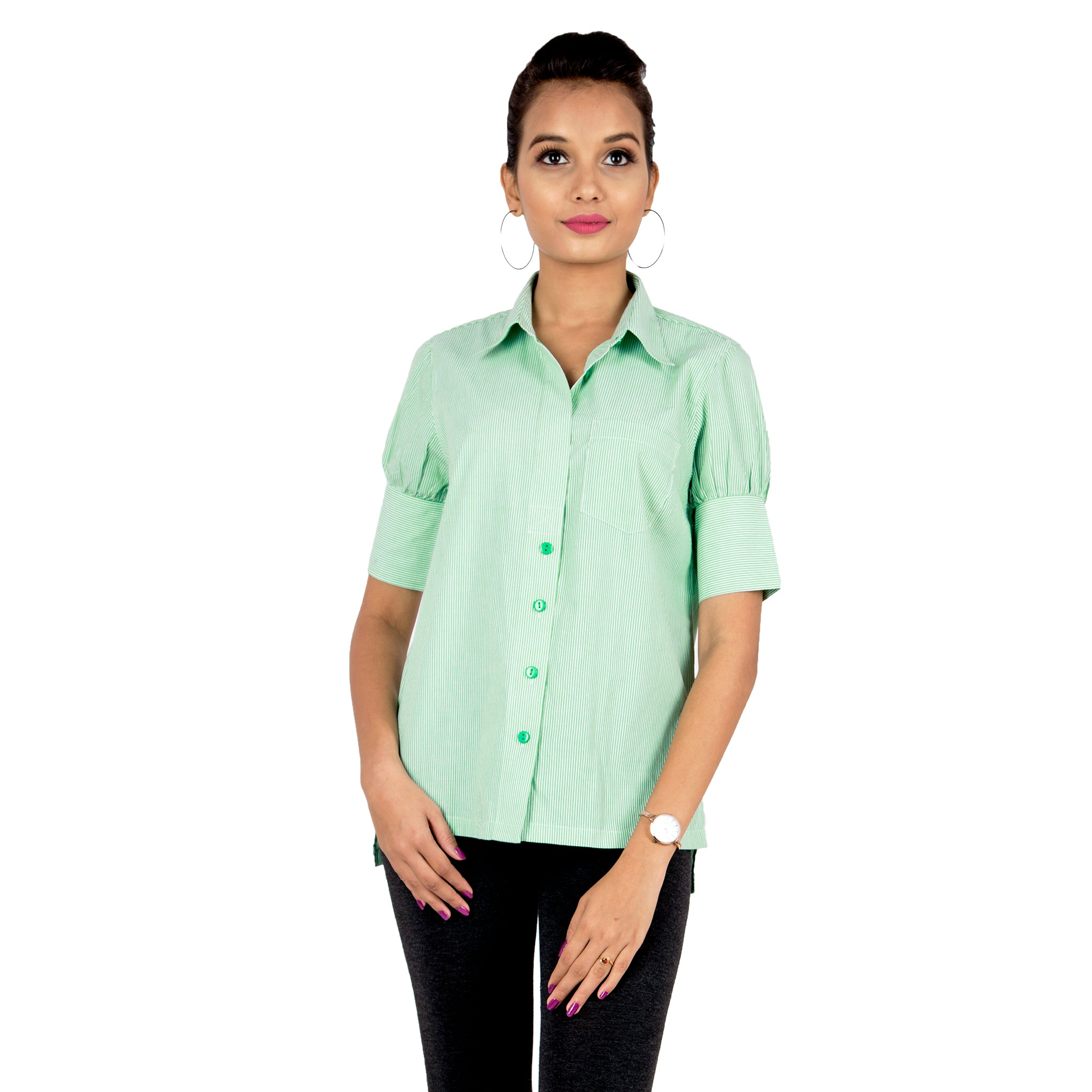 Green Pinstriped Semi Formal Shirt