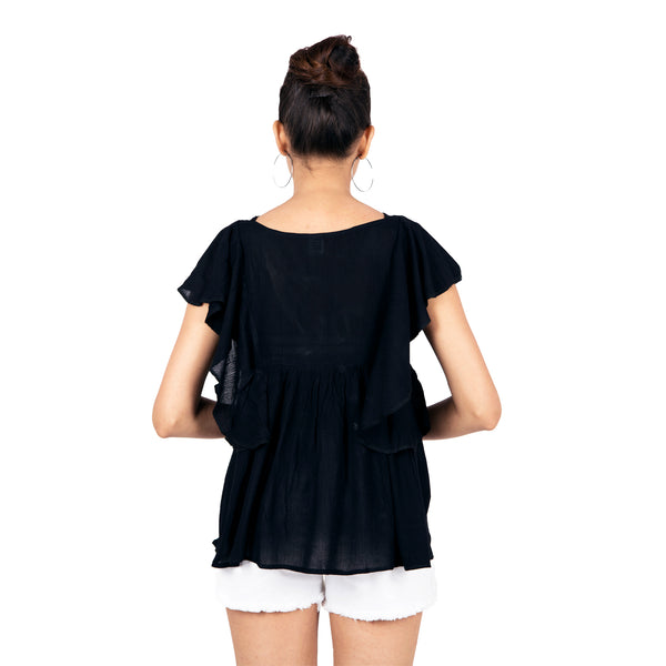 Midnight Ruffle Elegant Flared Top