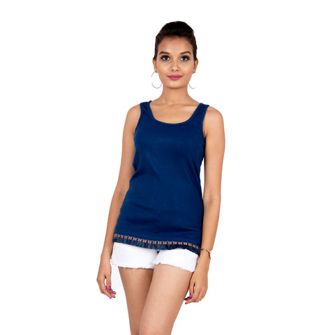 Cobalt Blue Tank Top With Delicate Lacework.