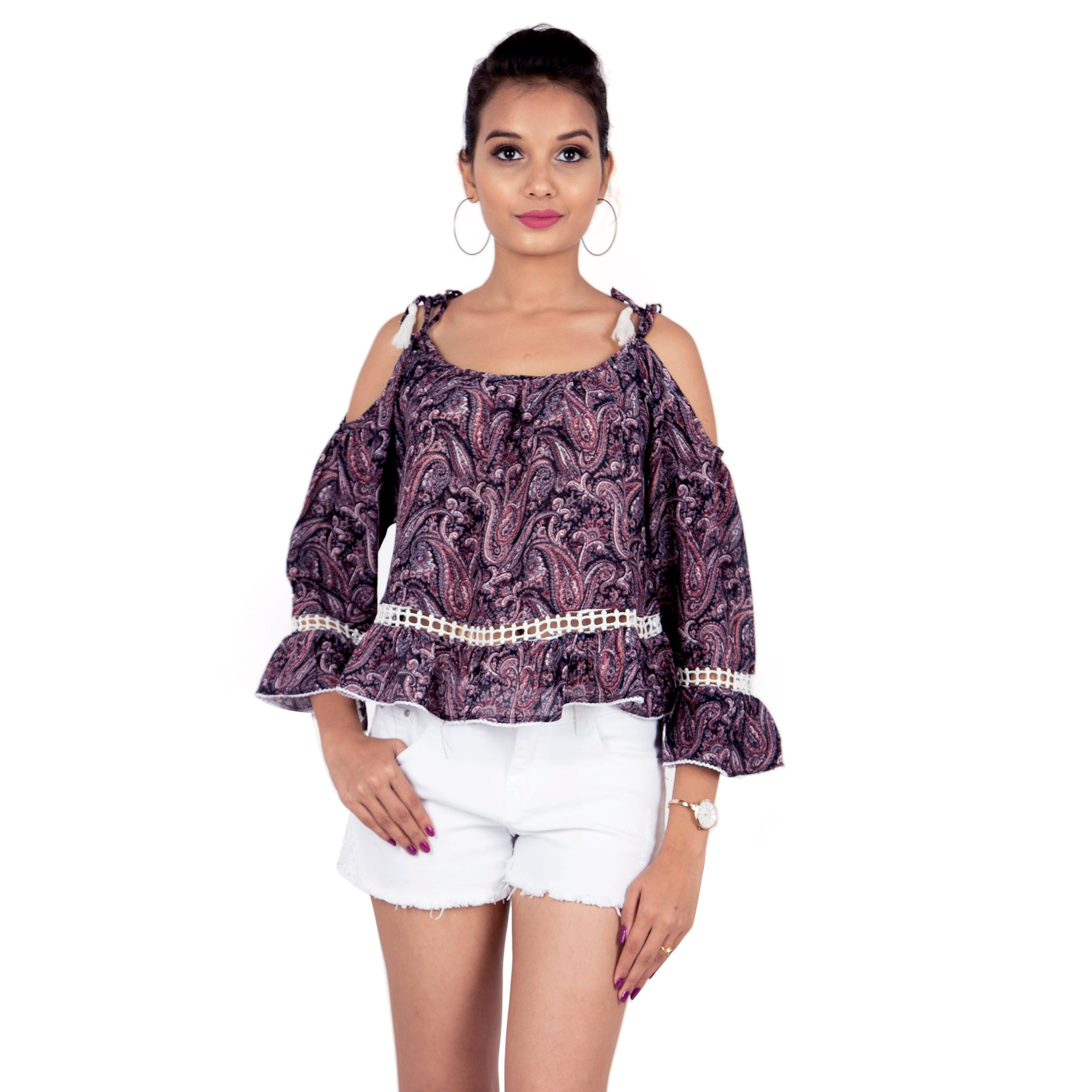 Paisley Buzz Cold Shoulder Top With Tie Ups