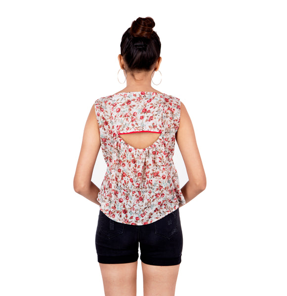 Floral SwingTop With Peekaboo Back