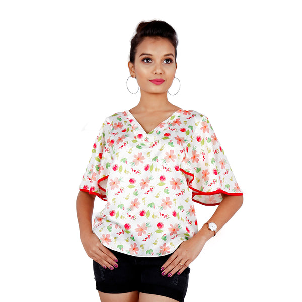 satin-floral-top-with-fan-sleeves for-women