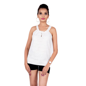 Strappy Schiffli Sea Salt Top