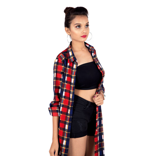 Red & Blue Checkered Longline Shirt