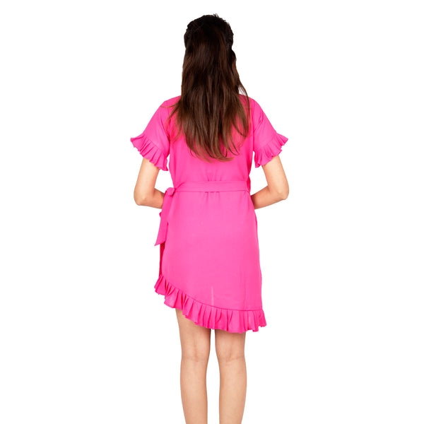 casual-wrap-dress-pink -colour-online