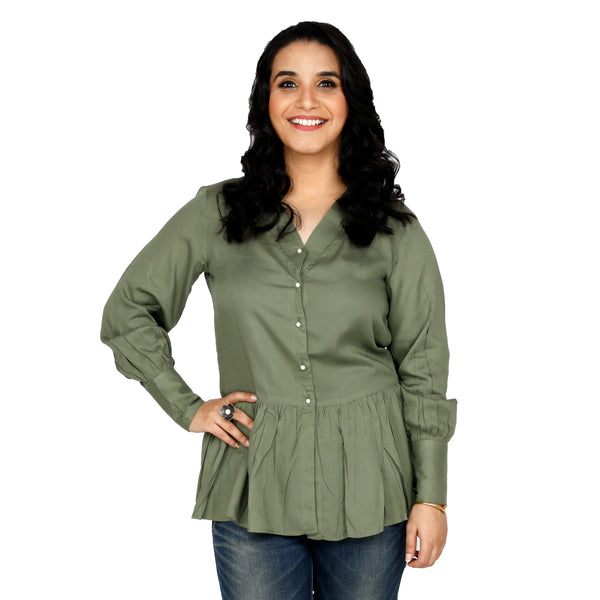 Olive Green Peplum Shirt