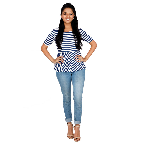 Pleated Peplum Striped Top