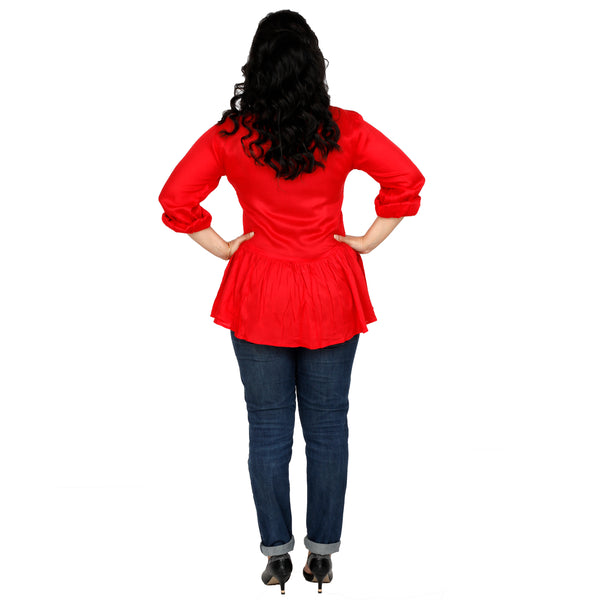 Lady in Red Peplum Shirt