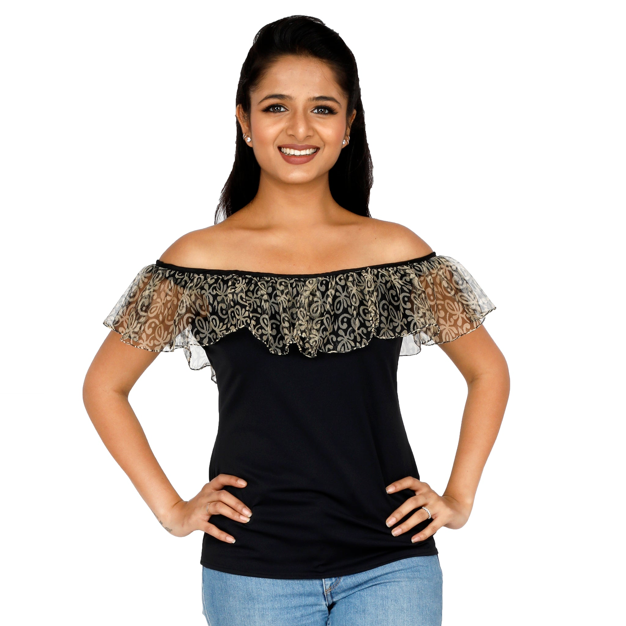 Solid Black Off-Shoulder With Delicate Net Flap
