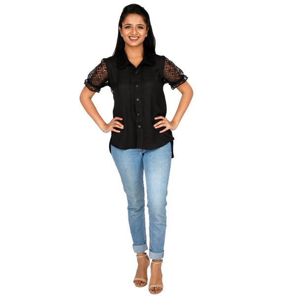 party-wear-black-top-with-net-sleeves-for-ladies