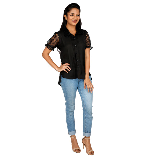 elegant-black-top-with-net-sleeves-for-dinner-date