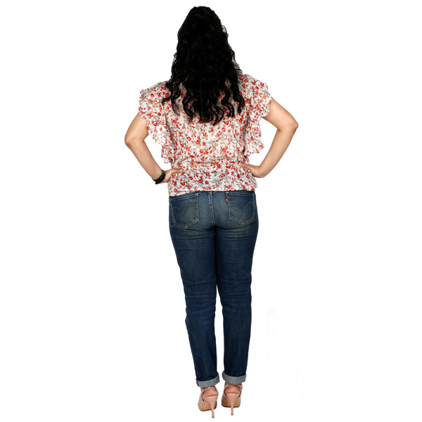 Floral Top With Fan Sleeves