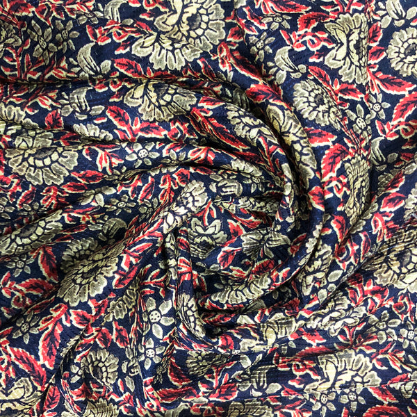 Tusser Kantha Gold & Red Exotic Print