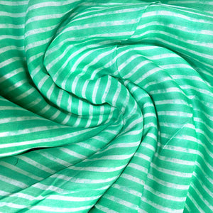 White & Green Stripes Soft Cotton Fabric