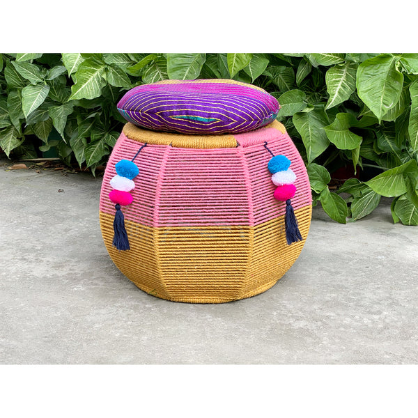 Pink Salt Luxe Cushy Pouffe(Single Piece)