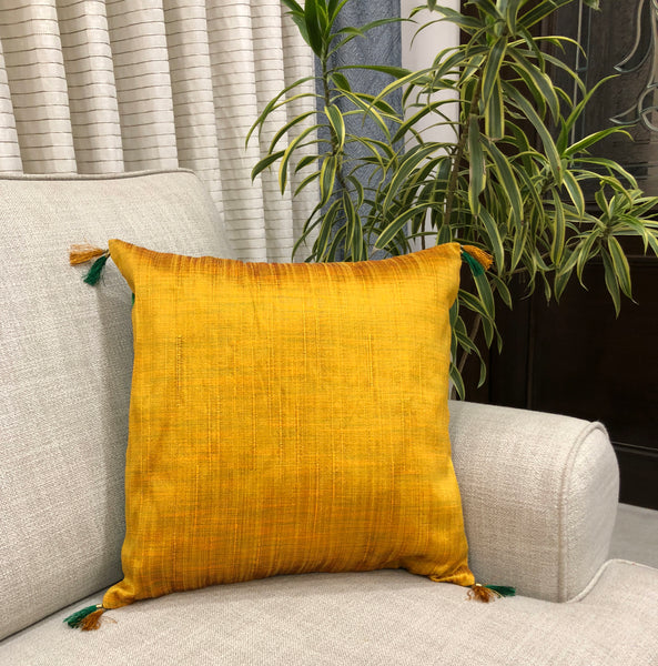 Festive Stripes Tussar Silk Cushion Cover