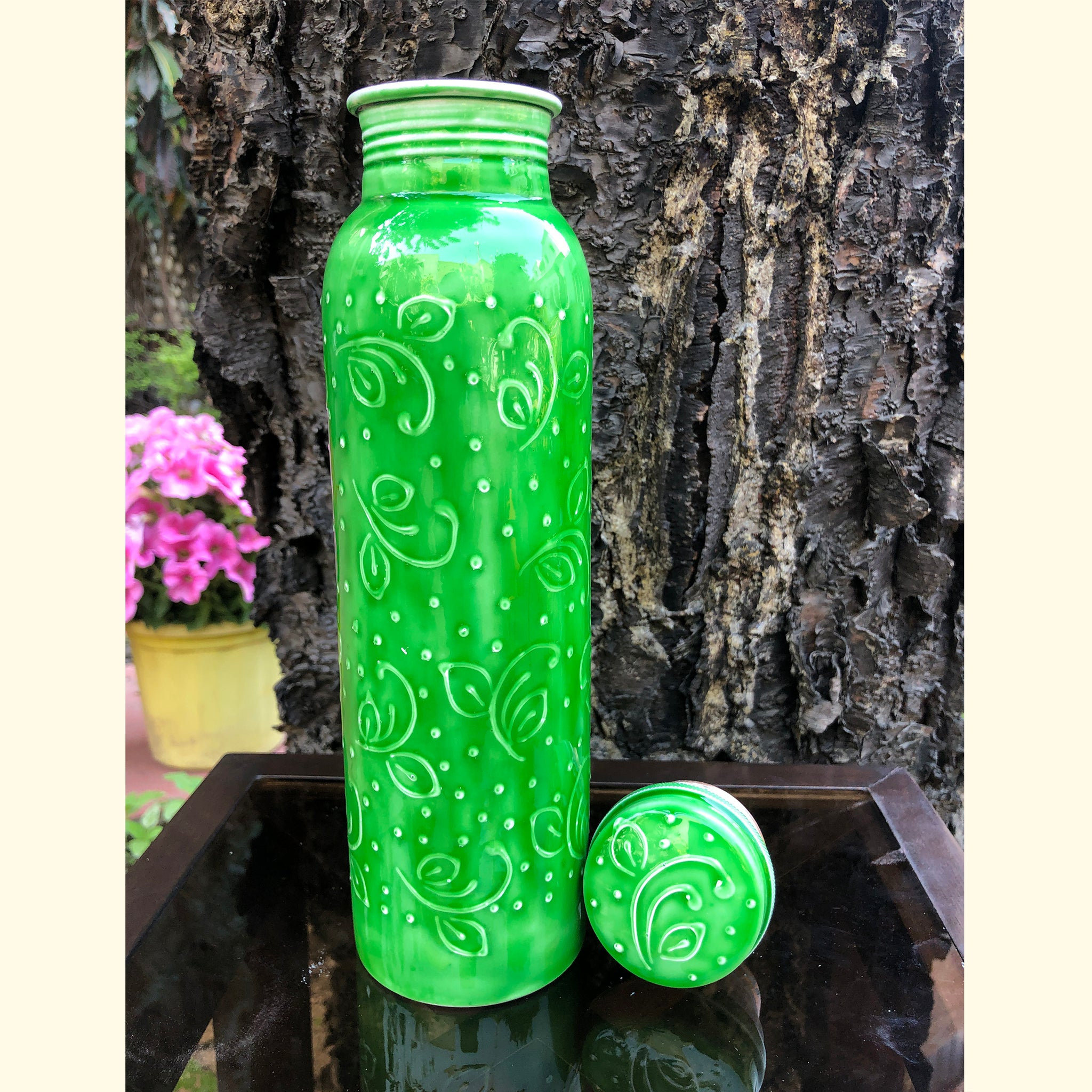 green coloured copper bottles online in unique designs
