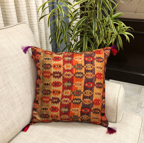 Traditional Indo Tussar Silk Cushion Cover
