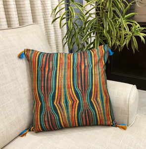 Transverse Stripes Tussar Silk Cushion Cover