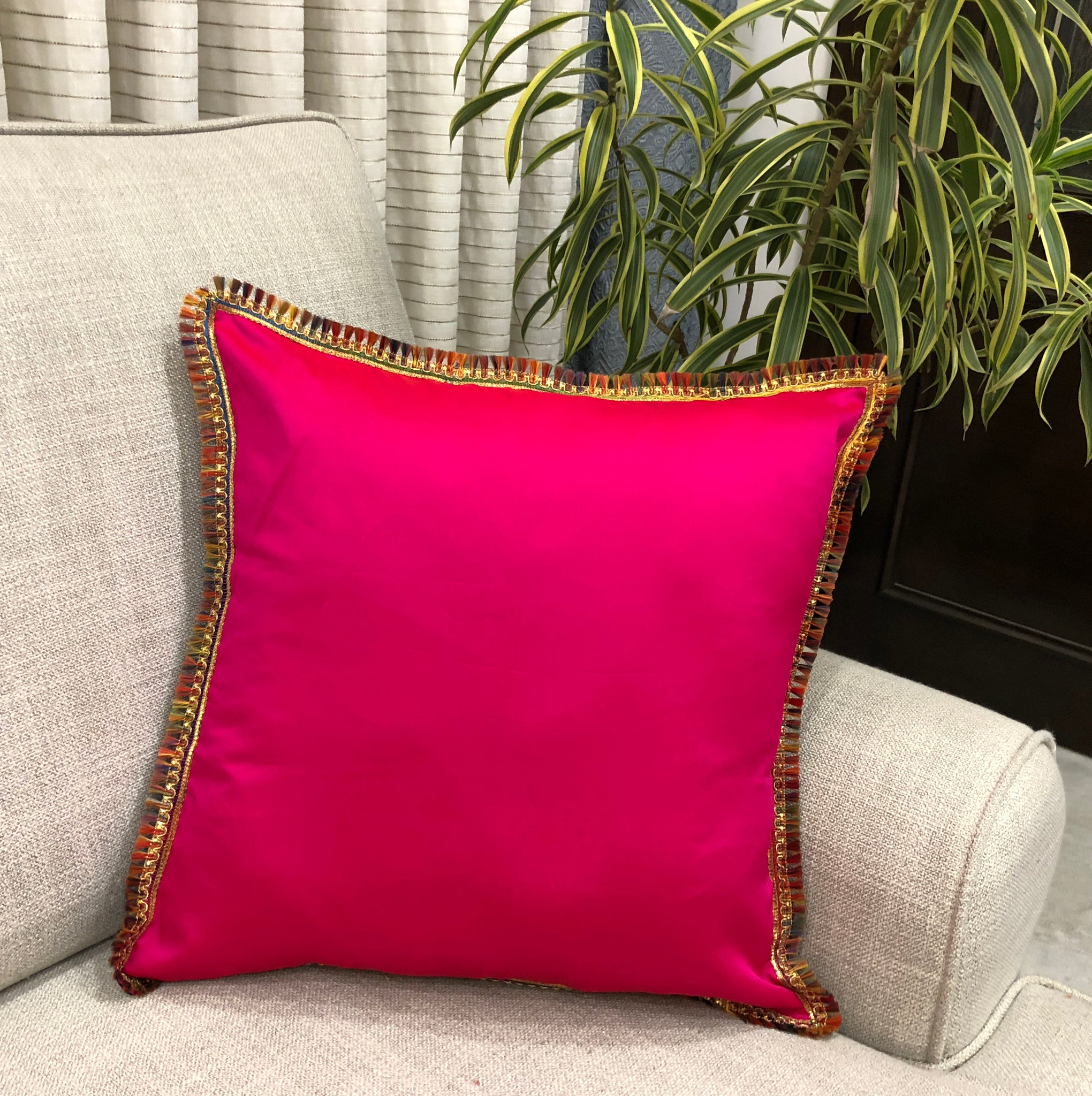 Hot Pink Festive Art Silk Cushion Cover