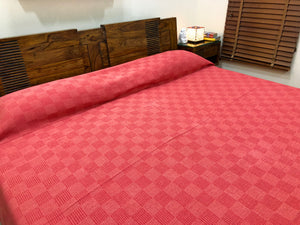 hand-woven-red-double-bed-cover-online-india