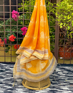 yellow and orange light weight dupatta online
