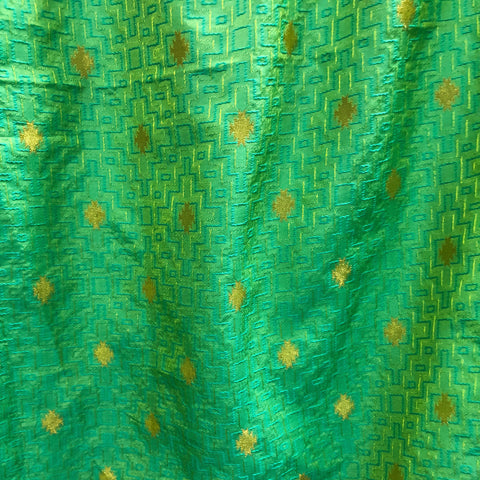 Green Brocade Traditional Print