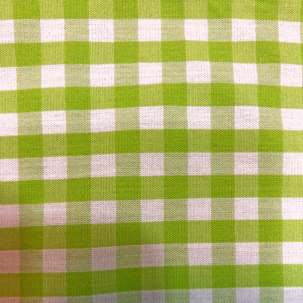 Cotton Checkered Green & White Print