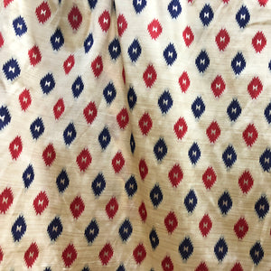 Tusser Patola Silk Red Blue Print