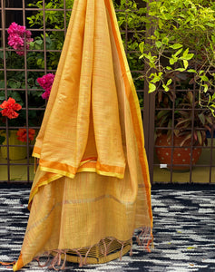 mustard-yellow-dupatta-in-maheshwari-fabric-online