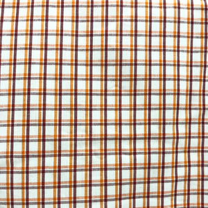 Summer Cotton Nutmeg & Orange Checkered Print