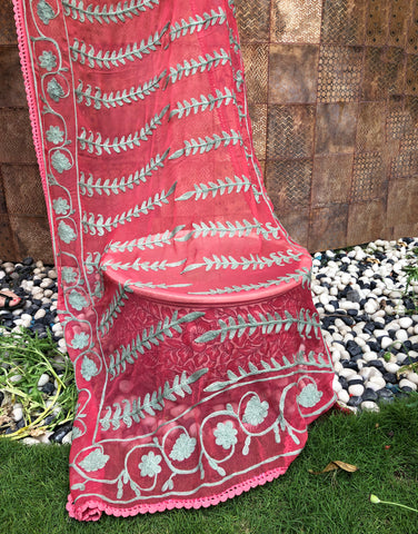 Traditional Kashmiri Dupatta With Embroidery
