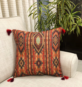 Geometric Tussar Silk Festive Cushion Cover