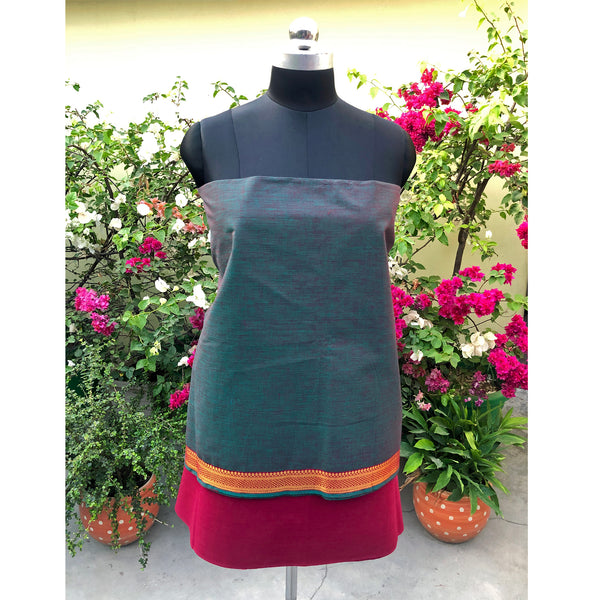 Marine Green & Magenta South Cotton Fabric Suit Length