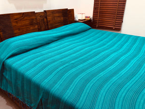 Sea Green Bed Cover with Blue Tassels