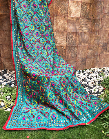 Traditional Phulkari Green Dupatta