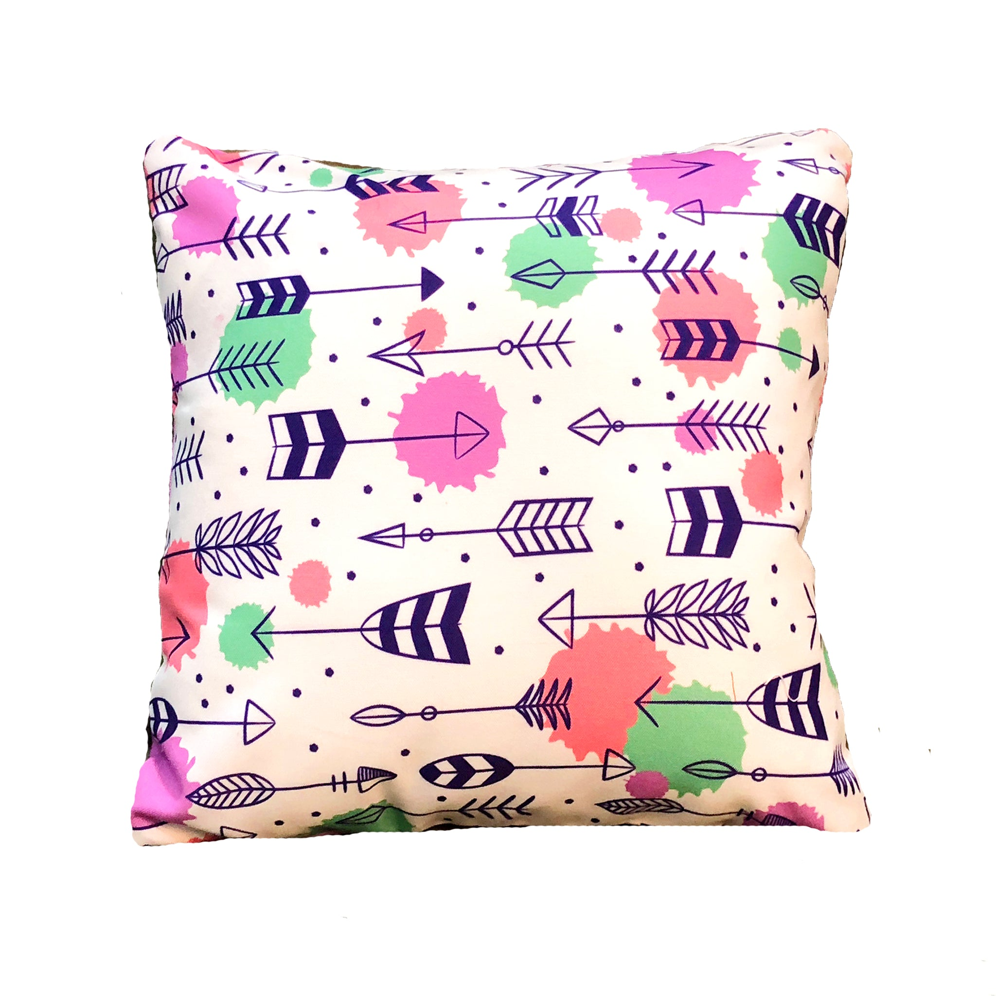 white cushion with arrow print