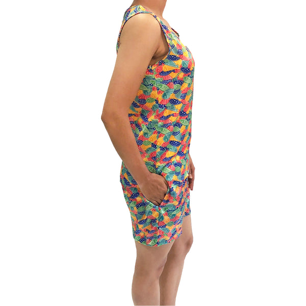 fish-print-satin-sleep-wear-with-shorts-for-women-and-girls