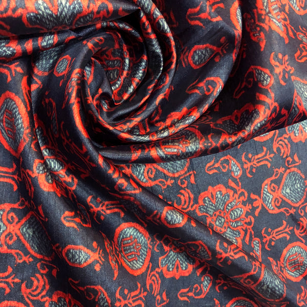 red-and-black-tussar-silk-fabric-online-india