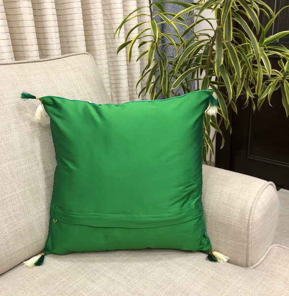 Nature Green Silk Cushion Cover