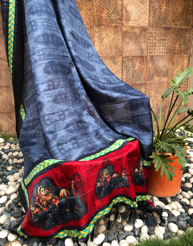 blue silk dupatta with red border