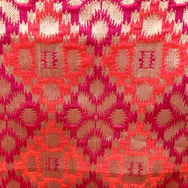 magenta-and-orange-brocade-fabric-india