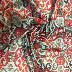 Turquoise Blue & Rust Patterned Mixed Cotton Fabric