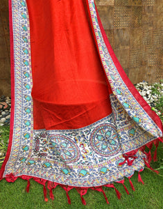 Scarlet Red Dupatta With Madhbani Border