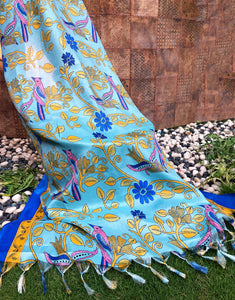 printed-blue-silk-dupatta-online-india